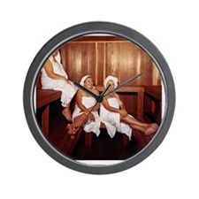 Sauna Girlfriends in Towels Wall Clock