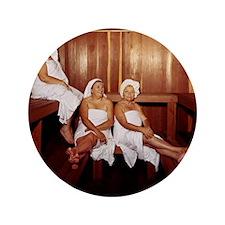 "Sauna Girlfriends in Towels 3.5"" Button"