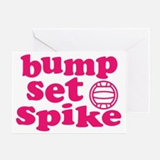volleyball-bump-set-spike-pink Greeting Card