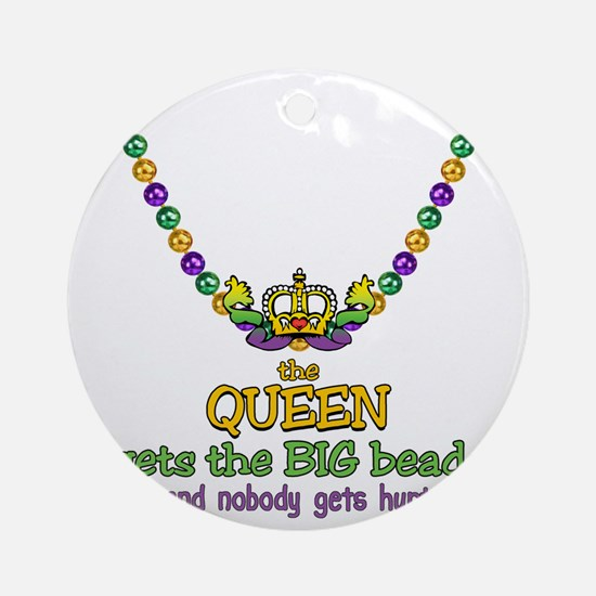 HeartCrownQbbeadsTR Round Ornament