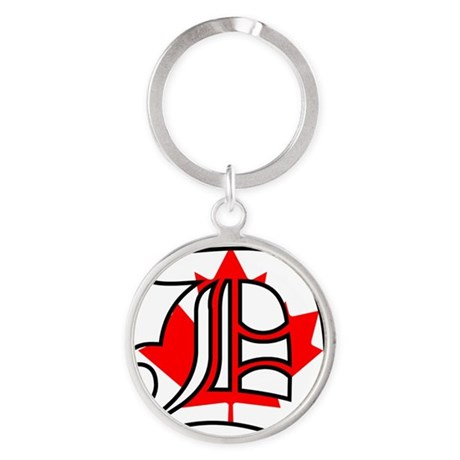 Canadian Flag D Round Keychain