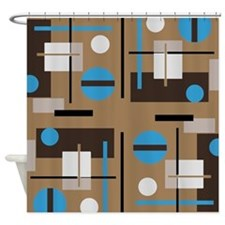Abstract shaped pattern in retro colors Shower Cur