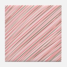 Pink Abstract Stripes Tile Coaster