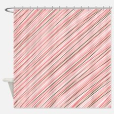 Pink Abstract Stripes Shower Curtain