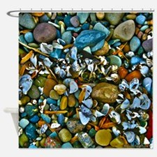 Shells Stones Seeds Leaves Shower Curtain