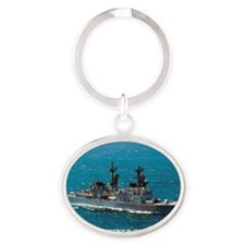 leftwich large framed print Oval Keychain