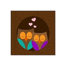 "owls in tree copy Square Sticker 3"" x 3"""