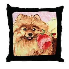 Pomeranian Rose Throw Pillow