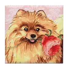 Pomeranian Rose Tile Coaster