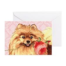 Pomeranian Rose Greeting Cards (Pk of 10)