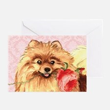 Pomeranian Rose Greeting Cards (Pk of 10)