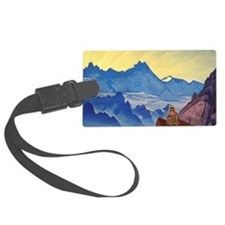 Buddha monk meditating on mounta Luggage Tag