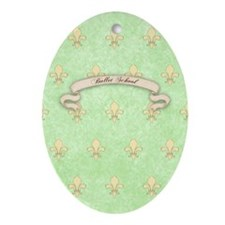 Green Fleur de lis ballet School Jou Oval Ornament