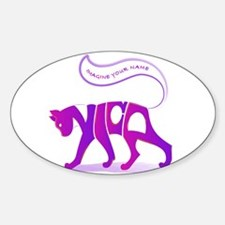 Nica pink and purple cat Oval Decal