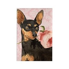Min Pin Rose Rectangle Magnet