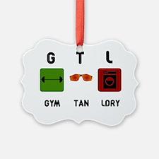 gym-tan-laundry-black-text Ornament