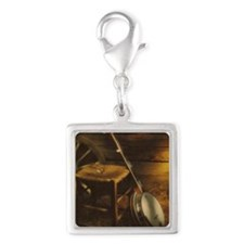 Banjo Picture Larger Silver Square Charm