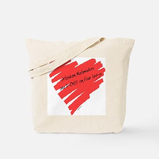 Alaskan Malamute Love on 4 Legs Tote Bag
