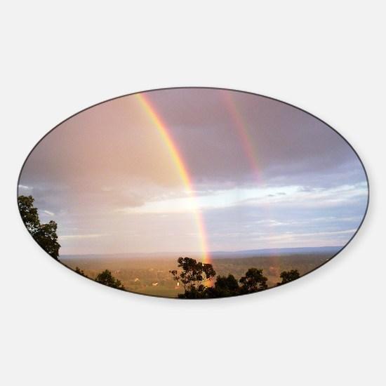 2 rainbows Sticker (Oval)