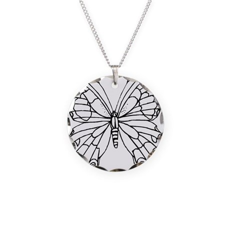 Butterfly Coloring Necklace Circle Charm By ADMIN CP20549586