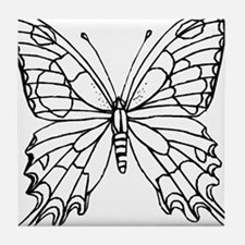 butterfly coloring Tile Coaster