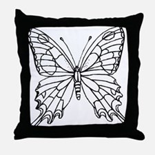 butterfly coloring Throw Pillow