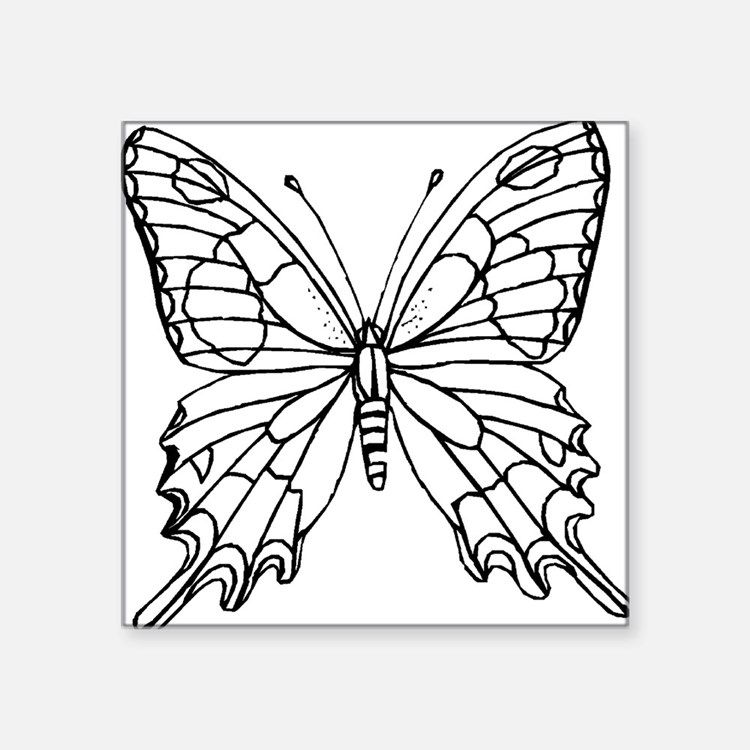 "butterfly coloring Square Sticker 3"" x 3"""