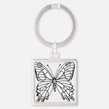 butterfly coloring Square Keychain