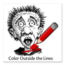 """Color-Outside-on-white Square Car Magnet 3"""" x 3"""""""