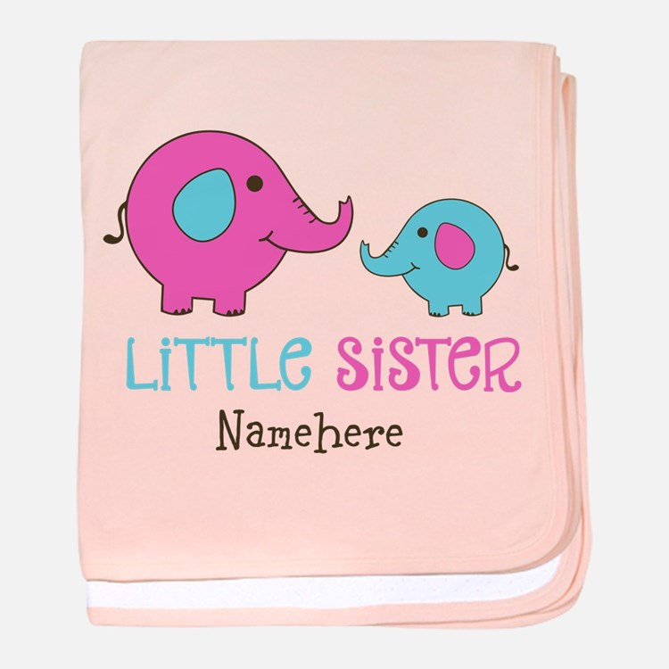 Little Sister Elephant Personalized baby blanket