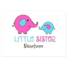 Little Sister Elephant Personalized 5x7 Flat Cards