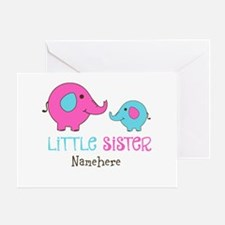 Little Sister Elephant Personalized Greeting Card