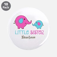 """Little Sister Elephant Personalized 3.5"""" Button (1"""