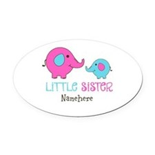 Little Sister Elephant Personalized Oval Car Magne