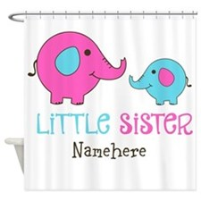 Little Sister Elephant Personalized Shower Curtain
