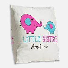 Little Sister Elephant Personalized Burlap Throw P