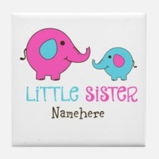 Little Sister Elephant Personalized Tile Coaster