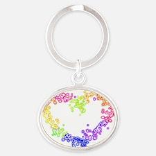 RainbowHeart Oval Keychain