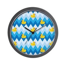Duck Parade Chevron Pattern Wall Clock