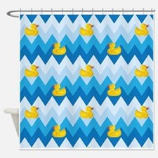 Duck Parade Chevron Pattern Shower Curtain
