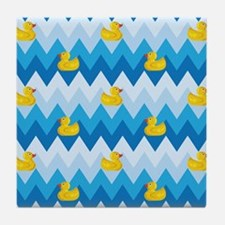 Duck Parade Chevron Pattern Tile Coaster