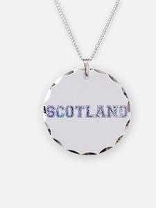 Blue Scotland typography Necklace