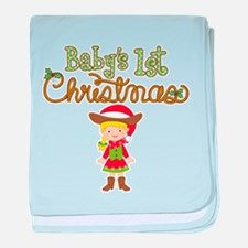 1st Christmas Cowgirl baby blanket