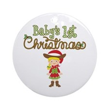 1st Christmas Cowgirl Ornament (Round)