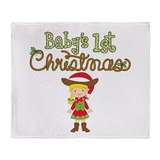 1st Christmas Cowgirl Throw Blanket
