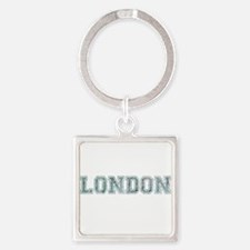 London text in blue Keychains