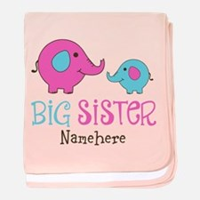 Personalized Big Sister Elephant baby blanket