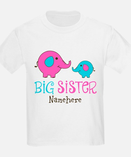 Personalized Big Sister Elephant T-Shirt