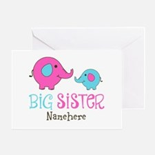 Personalized Big Sister Elephant Greeting Card