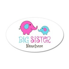 Personalized Big Sister Elephant 20x12 Oval Wall D